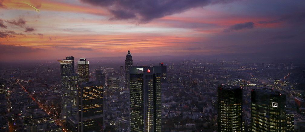 The skyline is photographed early evening in Frankfurt, Germany, January 26, 2016.