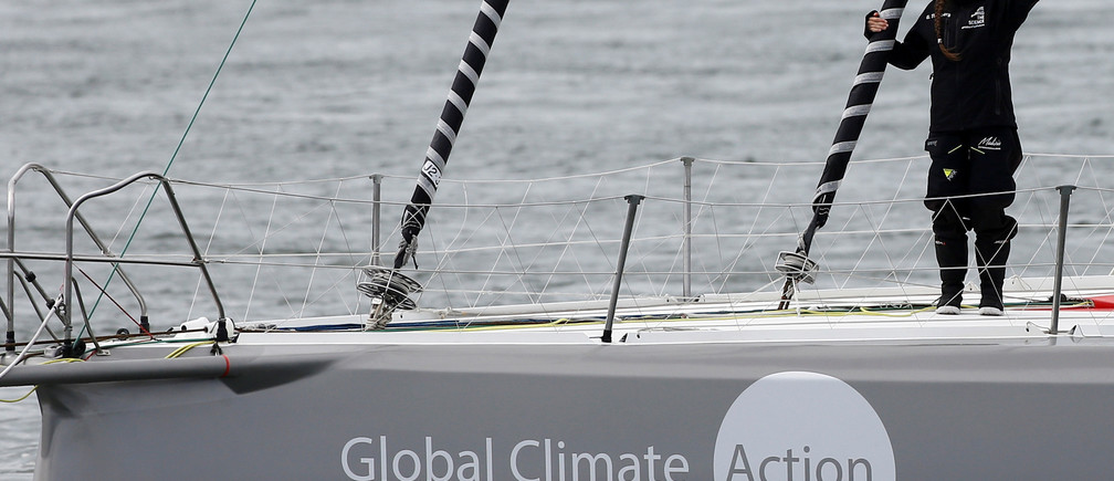 REFILE - QUALITY REPEAT Swedish teenage climate activist Greta Thunberg waves from a yacht as she starts her trans-Atlantic boat trip to New York, in Plymouth, Britain, August 14, 2019. REUTERS/Henry Nicholls - RC1650B2B300