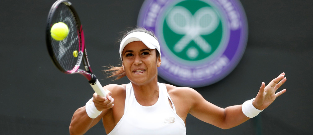 Tennis - Wimbledon - All England Lawn Tennis and Croquet Club, London, Britain - July 3, 2019  Britain's Heather Watson in action during her second round match against Estonia's Anett Kontaveit  REUTERS/Carl Recine - RC1D7D4A90A0
