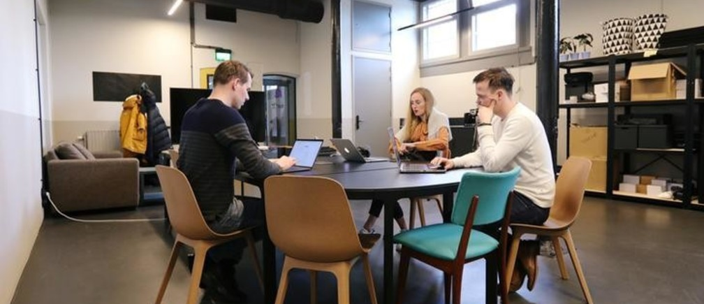 Margryt Fennema and Louis Zantema, co-founders of the virtual reality app Reducept, are seen working at the Dutch MedTech start-up office in Leeuwarden, Netherlands February 26, 2020. Picture taken February 26, 2020. REUTERS/Eva Plevier