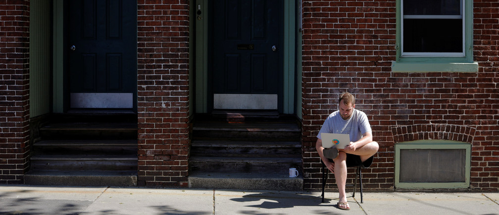 A remote worker in Cambridge, Massachusetts