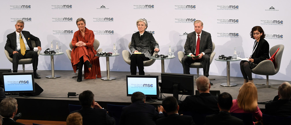 Indian Minister of External Affairs Subrahmanyam Jaishankar, Executive VP of the European Commission for the Digital Age Margrethe Vestager, South Korean Foreign Minister Kang Kyung-wha, and US Senator Lindsey O. Graham, with moderator Amrita Narlikar on a panel at the annual Munich Security Conference.