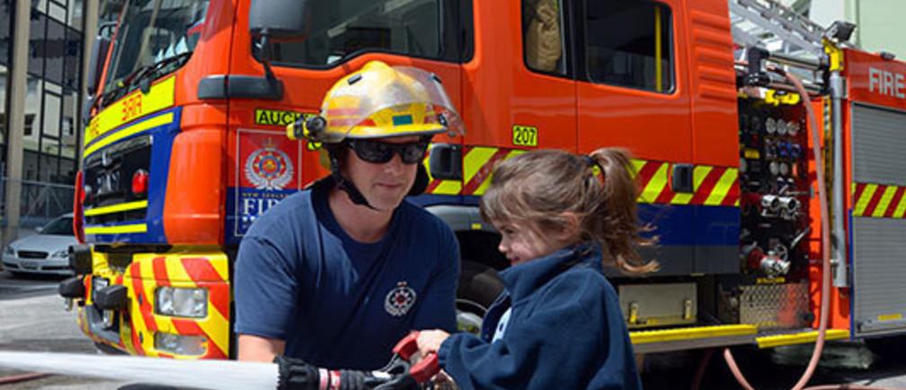 A firefighter in Auckland, New Zealand/Photo: Rafael Ben-Ari/Newscom