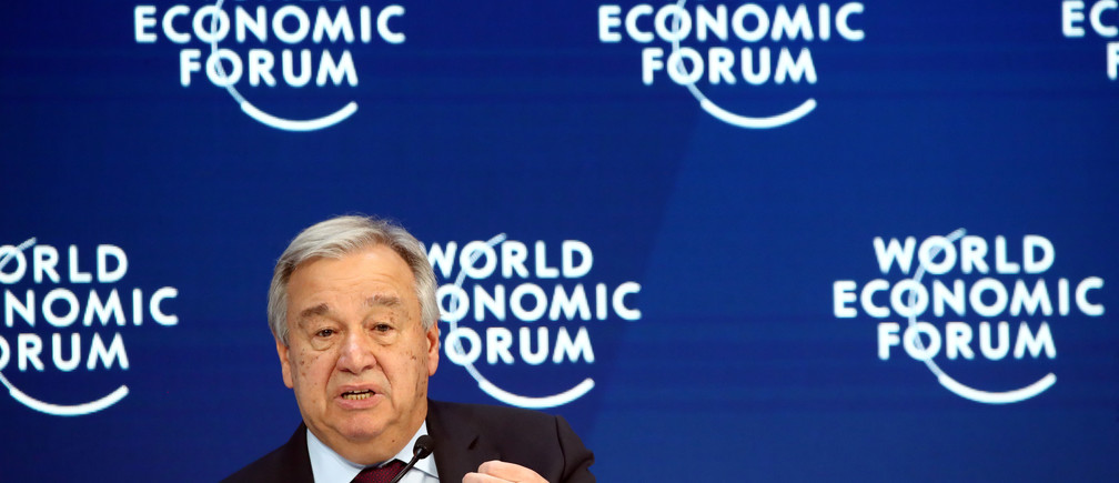 United Nations Secretary-General Antonio Guterres speaks during a session at the 50th World Economic Forum (WEF) annual meeting in Davos, Switzerland January 23, 2020. REUTERS/Denis Balibouse