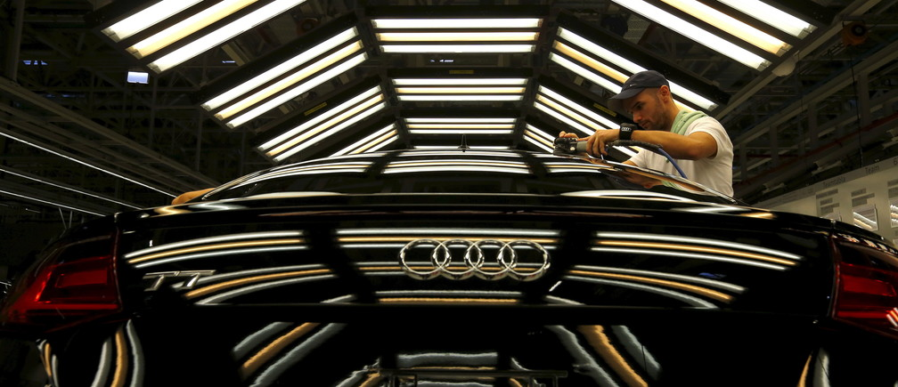 A worker on an Audi assembly line in Hungary.