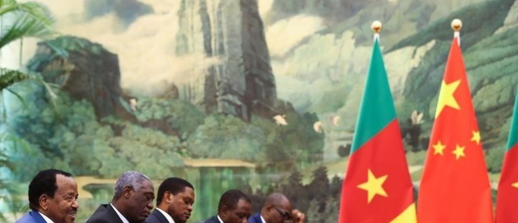 President of Cameroon Paul Biya (L) meets with Chinese Premier Li Keqiang (not pictured) at The Great Hall Of The People in Beijing, China March 23, 2018. Lintao Zhang/Pool via REUTERS *** Local Caption *** Li Keqiang;Paul Biya - RC1F1E6B2CB0