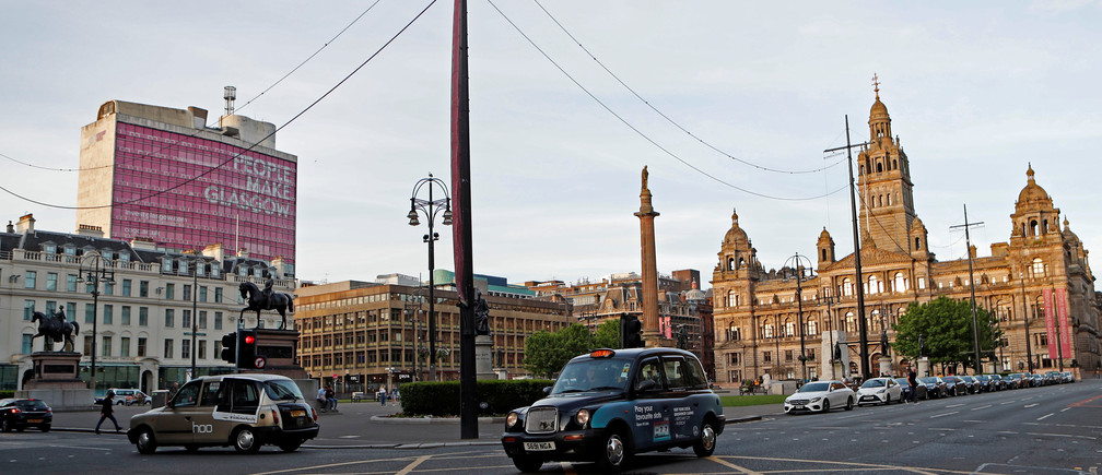 Taxis drive in George Square in Glasgow, Scotland, Britain May 14, 2019. Picture taken May 14, 2019.