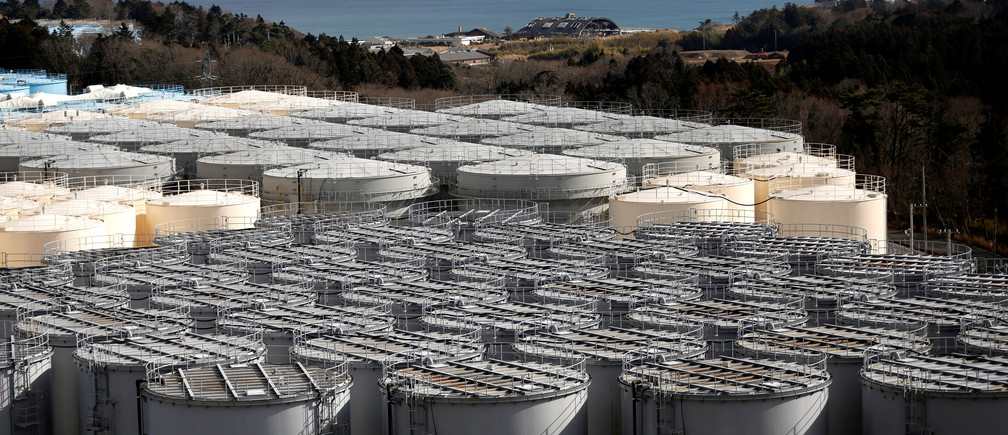 Storage tanks for radioactive water are seen at Tokyo Electric Power Co's (TEPCO) tsunami-crippled Fukushima Daiichi nuclear power plant in Okuma town, Fukushima prefecture, Japan February 18, 2019. Picture taken February 18, 2019. REUTERS/Issei Kato - RC14F6568E80