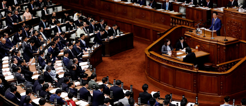 Japanese Prime Minister Shinzo Abe gives a policy speech at the start of the regular session of parliament in Tokyo, Japan, January 20, 2020. REUTERS/Kim Kyung-Hoon - RC2IJE9UYBZZ