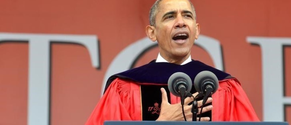 U.S. President Barack Obama delivers remarks to the 2016 graduating class at High Point Solutions Stadium during Rutgers University's 250th commencement exercises, in New Brunswick, New Jersey, May 15, 2016.