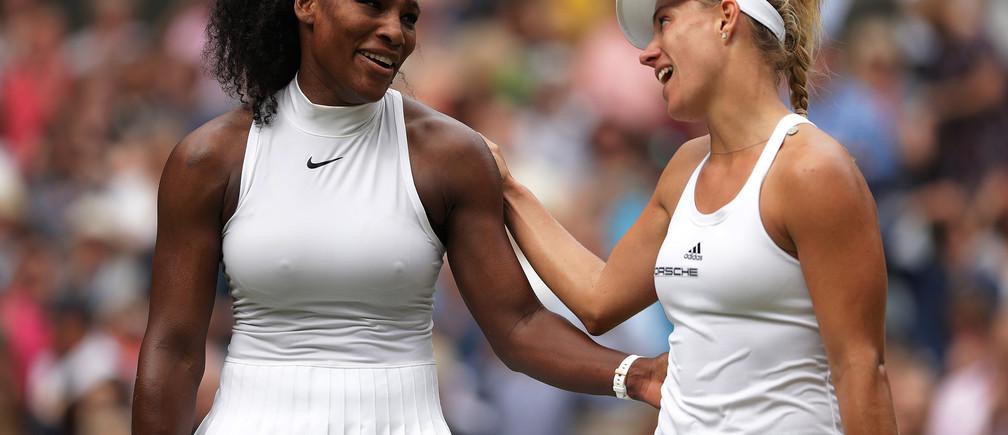 Britain Tennis - Wimbledon - All England Lawn Tennis & Croquet Club, Wimbledon, England - 9/7/16 USA's Serena Williams with Germany's Angelique Kerber after winning their womens singles final match