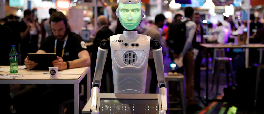 A 'SociBot' humanoid robot, manufactured by Engineered Arts, is displayed at the Viva Technology conference in Paris, France, June 15, 2017. REUTERS/Benoit Tessier - RC1B596F1500