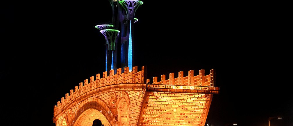 """""""Golden Bridge on Silk Road"""" installation, set up ahead of the Belt and Road Forum in Beijing"""
