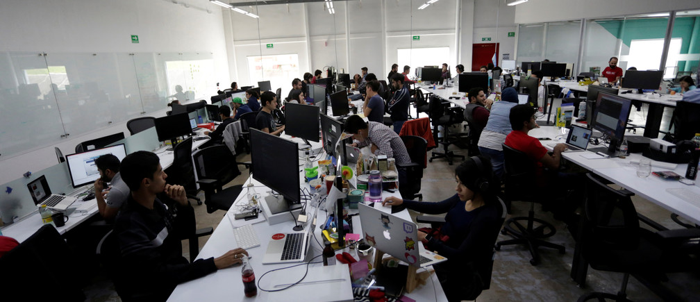 Mexican employees of San Francisco-based software company Wizeline at the company's offices in the tech hub of Guadalajara.