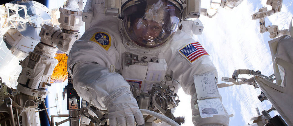 NASA astronaut Peggy Whitson is seen during a spacewalk during Expedition 50 aboard the International Space Station. Whitson and fellow NASA astronaut Shane Kimbrough successfully installed three new adapter plates and hooked up electrical connections for three of the six new lithium-ion batteries on the International Space Station in this undated photo. NASA/Handout via REUTERSTHIS IMAGE HAS BEEN SUPPLIED BY A THIRD PARTY. IT IS DISTRIBUTED, EXACTLY AS RECEIVED BY REUTERS, AS A SERVICE TO CLIENTSFOR EDITORIAL USE ONLY. NOT FOR SALE FOR MARKETING OR ADVERTISING CAMPAIGNS - RTS13U1W