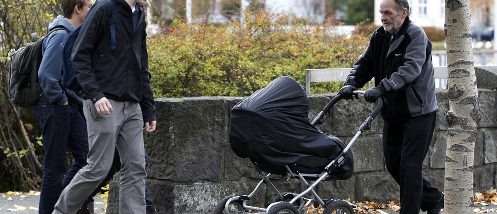A man pushes a baby pram in a park in Reykjavik October 12, 2010. Nordic countries Iceland, Norway, Finland  and Sweden continue to demonstrate the greatest equality between men and women according to the World Economic Forum's 2010 Global Gender Gap Report. REUTERS/Chris Helgren   (ICELAND - Tags: SOCIETY) - RTXTD0U
