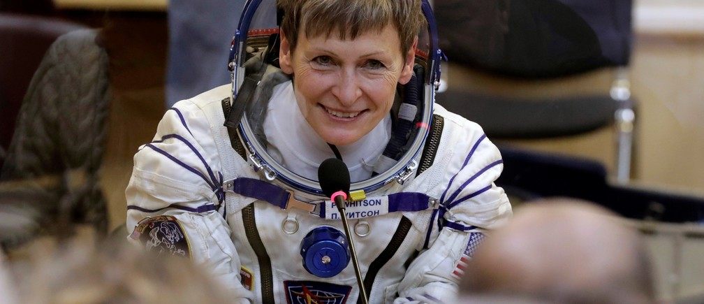 The International Space Station (ISS) crew member, Peggy Whitson of the U.S. speaks prior to the launch of Soyuz MS-3 space ship at Baikonur cosmodrome, Kazakhstan, November 17, 2016.