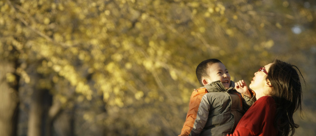 A child plays with his mother amongst ginkgo trees, outside Beijing's Diaoyutai Guest House on an early winter day, November 16, 2008.   REUTERS/Jason Lee (CHINA) - RTXANE4