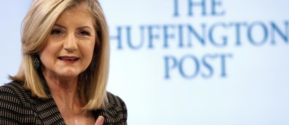 Arianna Huffington, president and Editor-in-Chief of The Huffington Post Media Group attends a session at the World Economic Forum (WEF) in Davos January 25, 2014. REUTERS/Denis Balibouse/File Photo