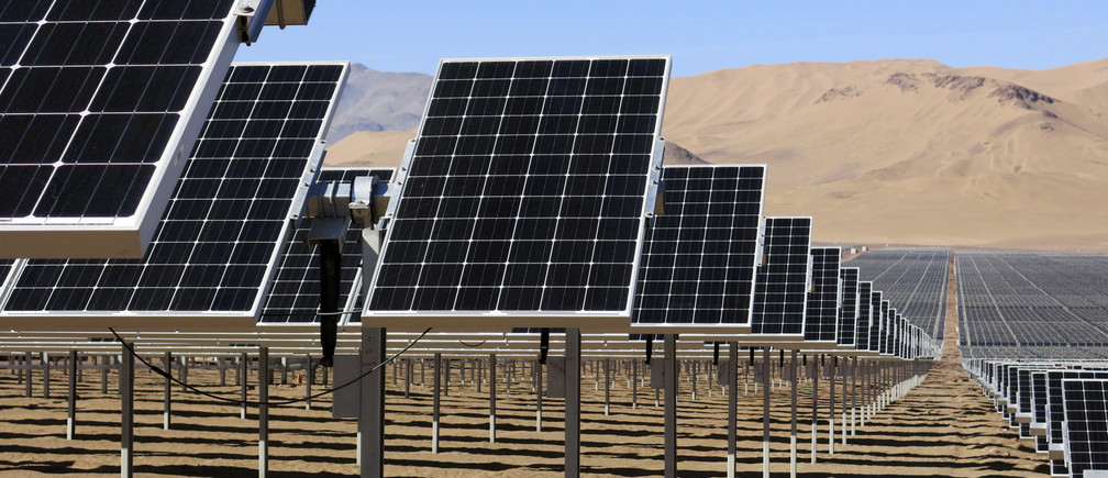 Solar panels of local mining company CAP are seen in the Atacama Desert.