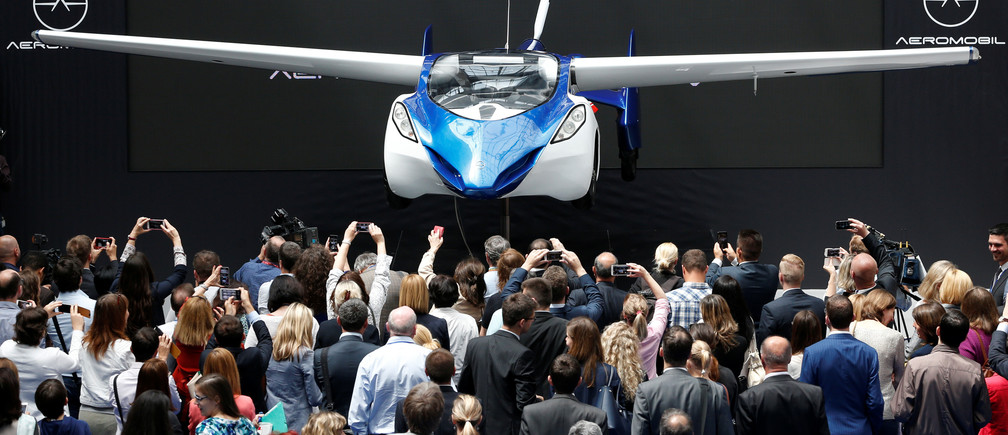 AeroMobil, a flying car prototype, is pictured during a ceremony marking the taking over of the rotating presidency of the European Council by Slovakia, in Brussels, Belgium, July 7, 2016.