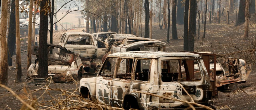 A cluster of burnt out cars sit at a property at Rainbow Flat, Australia, November 11th, 2019. AAP Image/Darren Pateman/via Reuters.