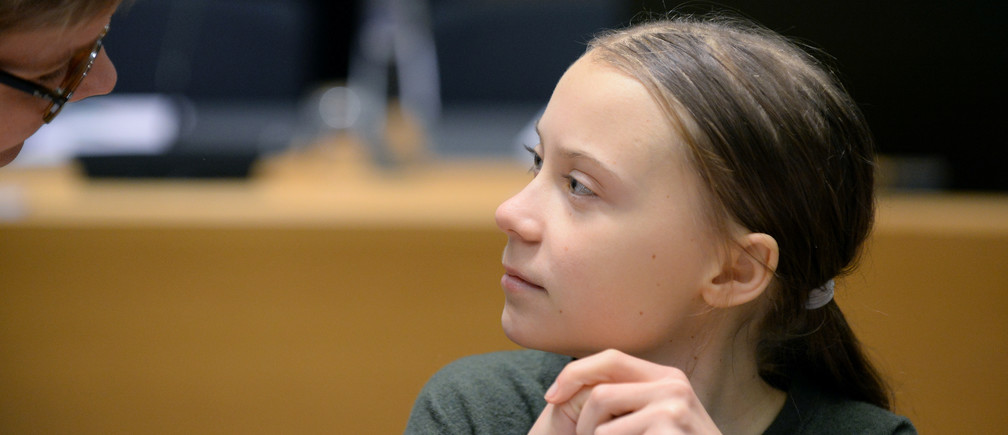 Swedish climate activist Greta Thunberg is seen before the meeting with EU environment ministers in Brussels, Belgium, March 5, 2020.