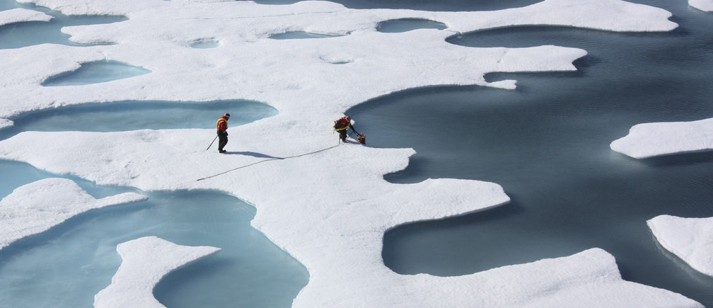 The crew of the  U.S. Coast Guard Cutter Healy, in the midst of their ICESCAPE mission, retrieves supplies for some mid-mission fixes dropped by parachute from a C-130 in the Arctic Ocean in this July 12, 2011 NASA handout photo obtained by Reuters June 11, 2011. Scientists punched through the sea ice to find waters richer in phytoplankton than any other region on earth.  Phytoplankton, the base component of the marine food chain, were thought to grow in the Arctic Ocean only after sea ice had retreated for the summer. Scientists now think that the thinning Arctic ice is allowing sunlight to reach the waters under the sea ice, catalyzing the plant blooms where they had never been observed. REUTERS/Kathryn Hansen/NASA
