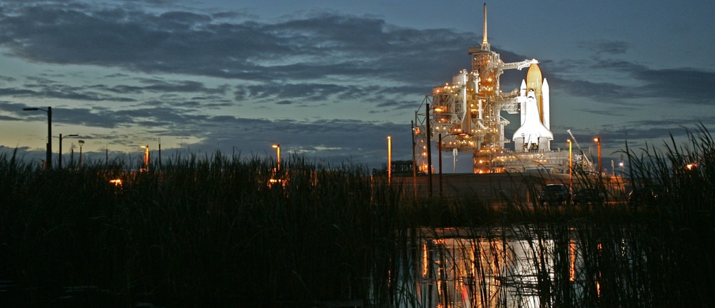 The space shuttle Atlantis sits on pad 39B at the Kennedy Space Center in Cape Canaveral, Florida, at sunset September 5, 2006.