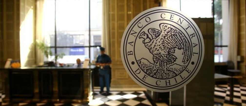 The emblem of the Chile's Central Bank is seen at its headquarters in Santiago, Chile March 29, 2018.