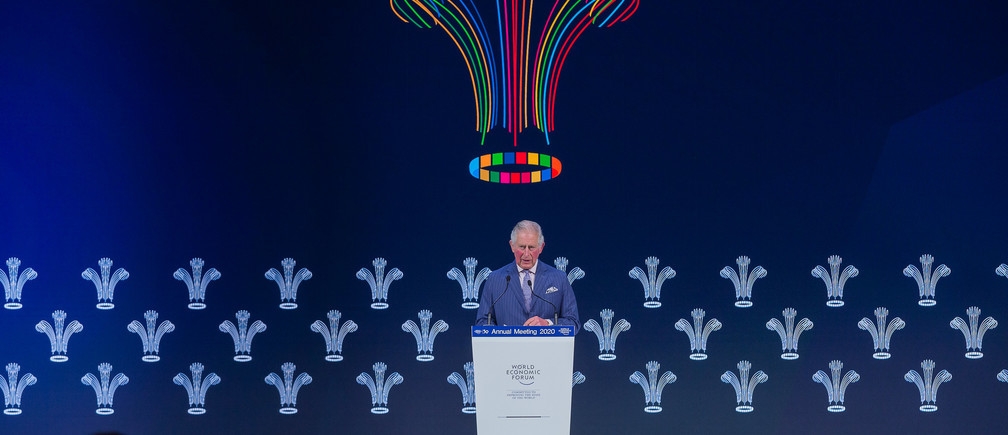 """H.R.H. The Prince of Wales, The Prince of Wales, speaking at the """" Special Address by H.R.H. The Prince of Wales """" Session at the World Economic Forum Annual Meeting 2020 in Davos-Klosters, Switzerland, 22 January. Congress Center - Congress Hall\rCopyright by World Economic Forum / Christian Clavadetscher"""