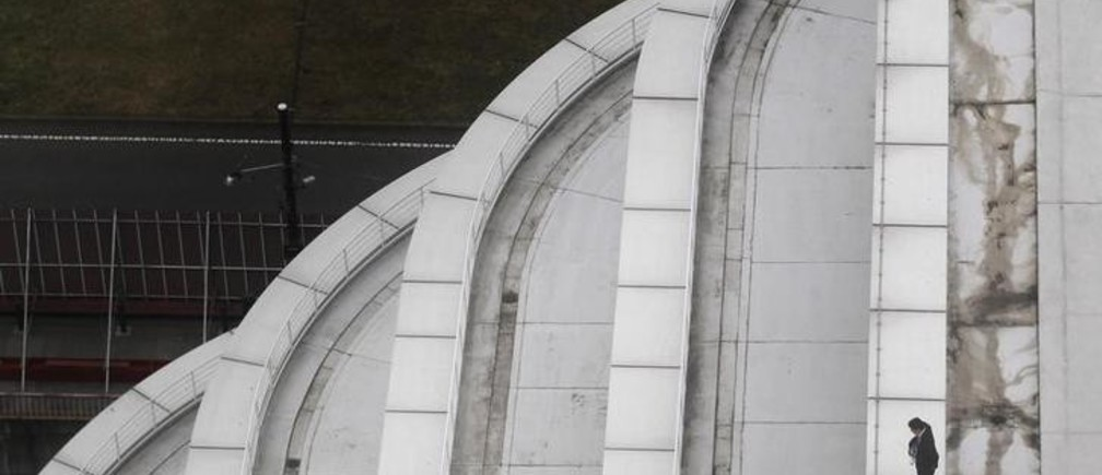 A man looks out over the area from the roof of a building inside the perimeter at the APEC Summit in Yokohama November 14, 2010. REUTERS/Jim Young (JAPAN - Tags: POLITICS IMAGES OF THE DAY)