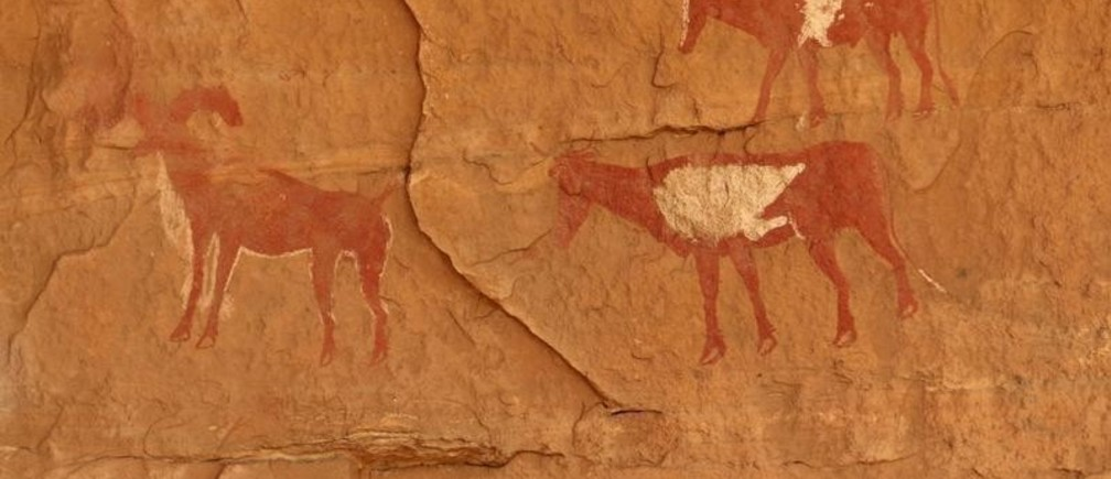"Rock art is pictured at Tadrart Acacus, in Ghat May 30, 2014. Vandals have destroyed prehistoric rock art in lawless southern Libya, endangering a sprawling tableau of paintings and carvings classified by UNESCO as of ""outstanding universal value"". Located along Libya's southwestern tip bordering Algeria, the Tadrart Acacus mountain massif is famous for thousands of cave paintings and carvings going back up to 14,000 years.   REUTERS/Aimen Elsahli (LIBYA - Tags: SOCIETY) - GM1EA631HAH01"