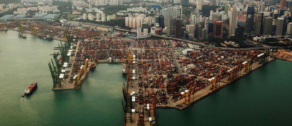 An aerial view of shipping containers stacked at the port of Singapore February 14, 2012. REUTERS/Edgar Su/File Photo                   GLOBAL BUSINESS WEEK AHEAD PACKAGE       SEARCH BUSINESS WEEK AHEAD 12 DEC FOR ALL IMAGES - RTX2UL25