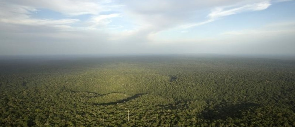 A view is seen from the Amazon Tall Tower Observatory (ATTO) in Sao Sebastiao do Uatuma in the middle of the Amazon forest in Amazonas state January 10, 2015. The Amazon Tall Tower Observatory is a project of Brazil's National Institute of Amazonian Research and Germany's Max Planck Institute and will be equipped with high-tech instruments and an observatory to monitor relationships between the jungle and the atmosphere from next July. According to the institutes, ATTO will gather data on heat, water, carbon gas, winds, cloud formation and weather patterns. Picture taken on January 10, 2015. REUTERS/Bruno Kelly (BRAZIL - Tags: ENVIRONMENT SCIENCE TECHNOLOGY) - RTR4LA9K