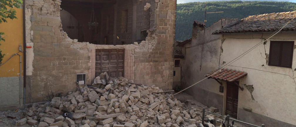 A damaged house is seen following an earthquake in Accumoli di Rieti, central Italy