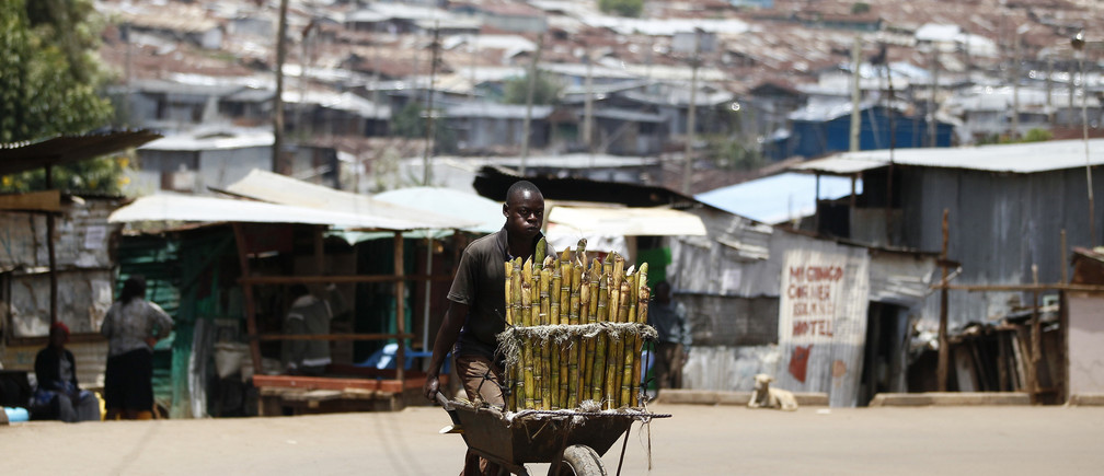 A trader pushes wheelbarrow loaded with sugar-cane for sale along a street in Kibera slum, home to over 1 million people, in Kenya's capital Nairobi