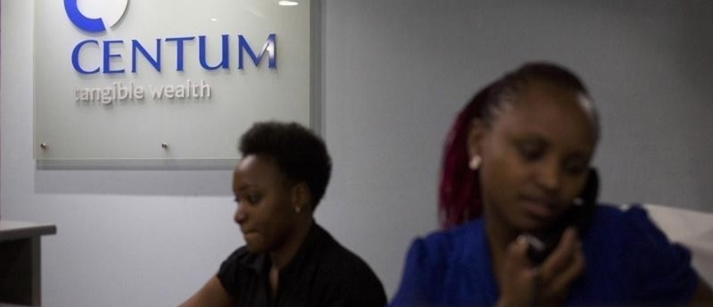 Women work at the front desk of the Centum Investment Company Limited in Nairobi, Kenya November 11, 2015. A consortium including Centum will start building a 1,000 megawatt coal-fired power plant in Kenya next month, the investment firm said on Wednesday as it reported a 75 percent jump in first-half pretax profit. Centum is the biggest investment company on the Nairobi bourse with interests in real estate projects, listed firms, private equity and electricity generating plants, among others