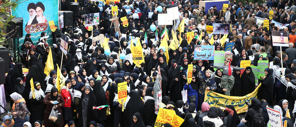 Iranian protesters attend an anti U.S. demonstration, marking the 40th anniversary of the U.S. embassy takeover, near the old U.S. embassy in Tehran, Iran, November 4, 2019. Nazanin Tabatabaee/WANA (West Asia News Agency) via REUTERS ATTENTION EDITORS - THIS IMAGE HAS BEEN SUPPLIED BY A THIRD PARTY - RC16ACE3D440