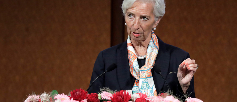 "Christine Lagarde, managing director of the International Monetary Fund (IMF), speaks at the Group of 20 (G-20) high-level seminar on financial innovation ""Our Future in the Digital Age"", on the sidelines of the G-20 finance ministers and central bank governors meeting in Fukuoka, Japan, on Saturday, June 8, 2019.  Kiyoshi Ota/Pool via REUTERS - RC13C09360E0"