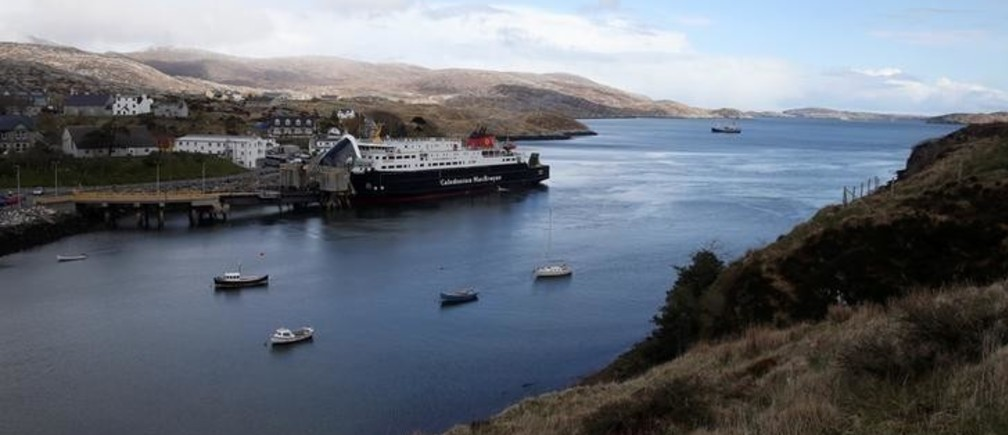The CalMac ferry berths at Tarbert on the Isle of Lewis and Harris, an island off the northwestern tip of Scotland in the Outer Hebrides, Britain April 27, 2016. Picture taken April 27, 2016. REUTERS/Russell Cheyne