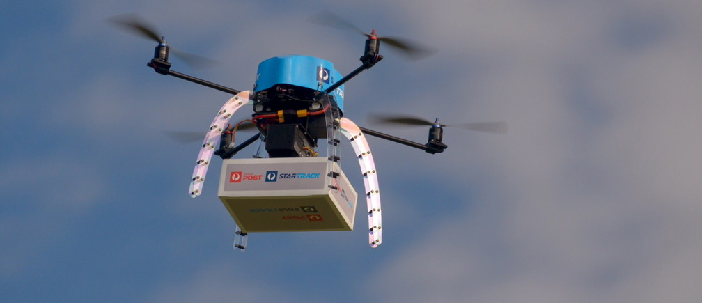 An Australia Post drone is pictured during trials of delivering packages from the air.