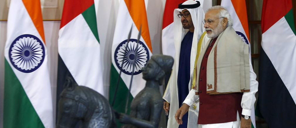 Sheikh Mohammed bin Zayed al-Nahyan, Crown Prince of Abu Dhabi and UAE's deputy commander-in-chief of the armed forces, and India's Prime Minister Narendra Modi (R) arrive for a photo opportunity ahead of their meeting at Hyderabad House in New Delhi, India, February 11, 2016. REUTERS/Adnan Abidi - GF10000304710