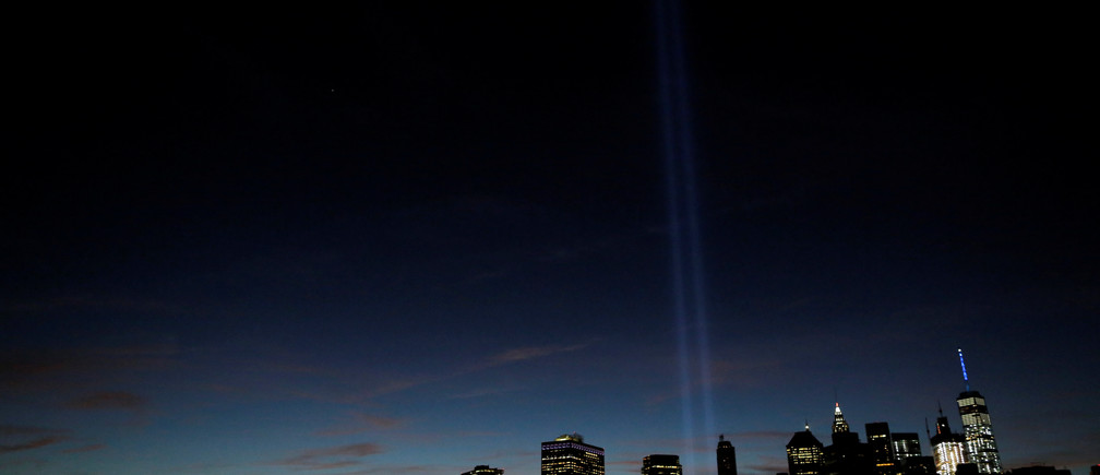 The Tribute in Light shines on the 15th anniversary of the 9/11 attacks in Manhattan, New York.
