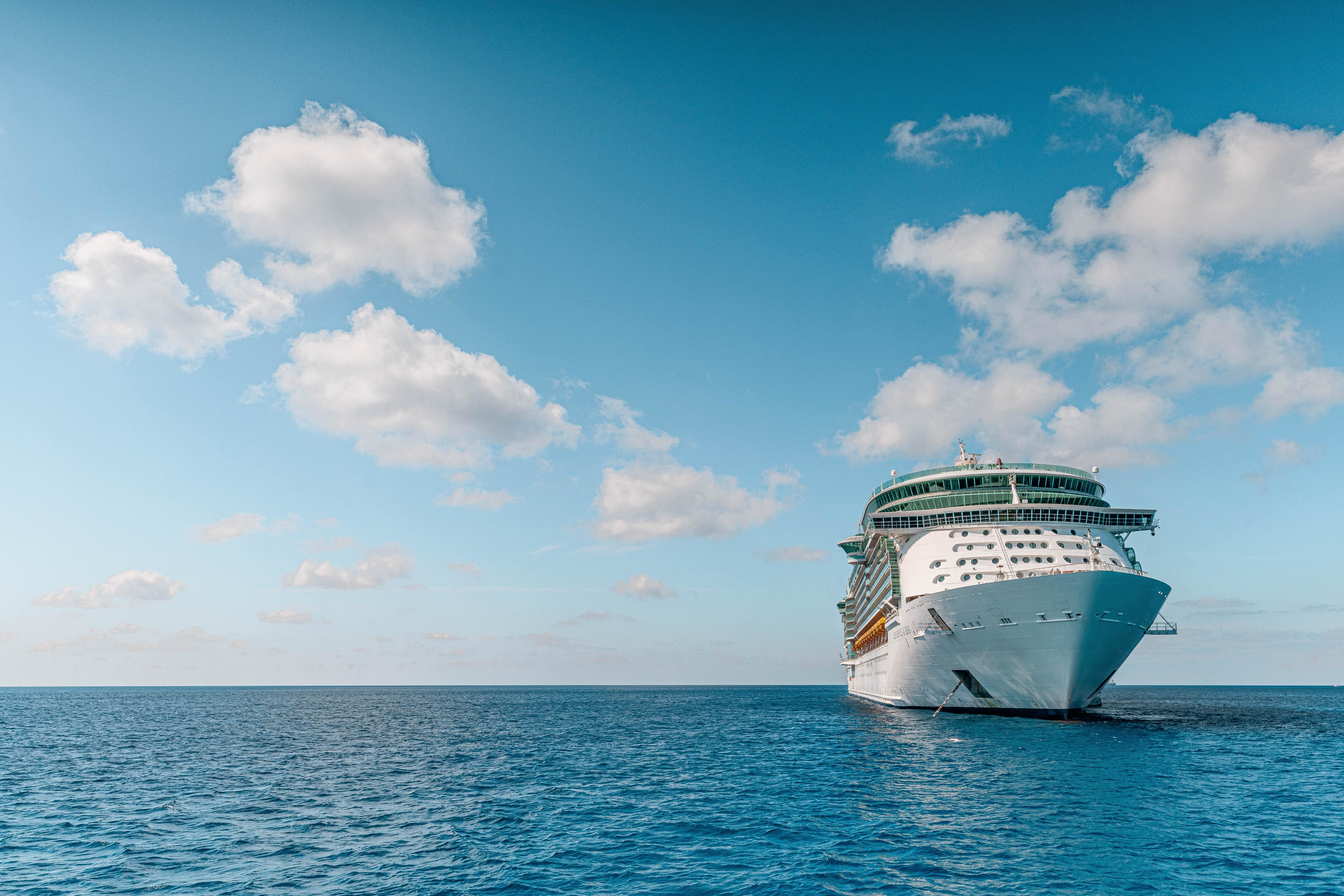 image of a cruise ship out at sea