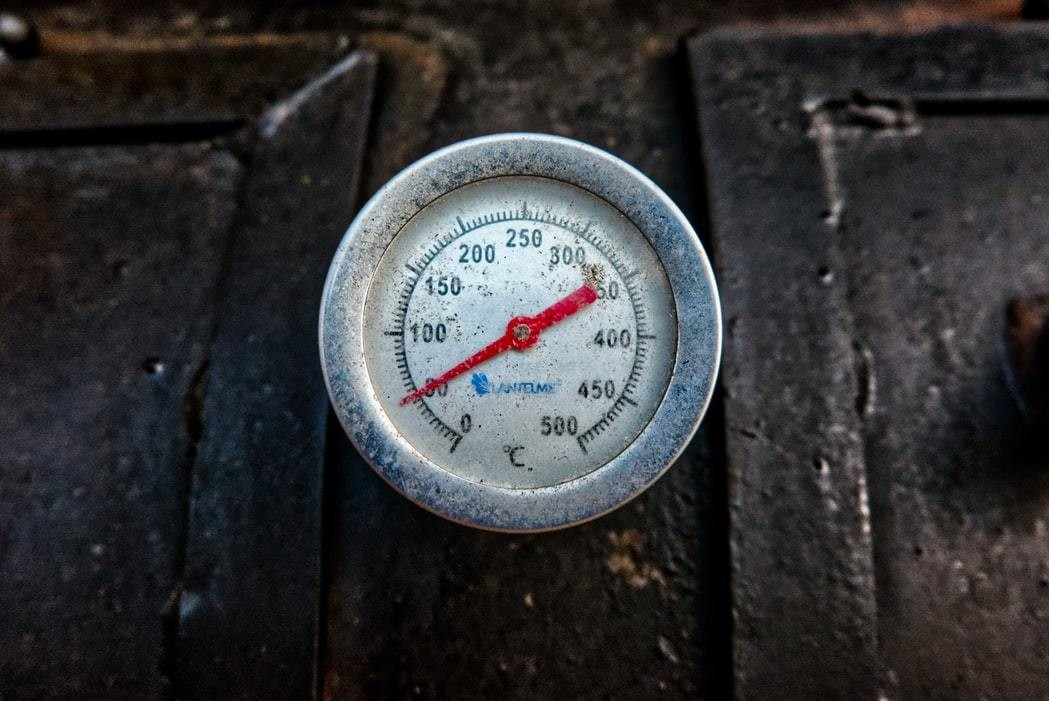 thermometer on a barbecue smoker