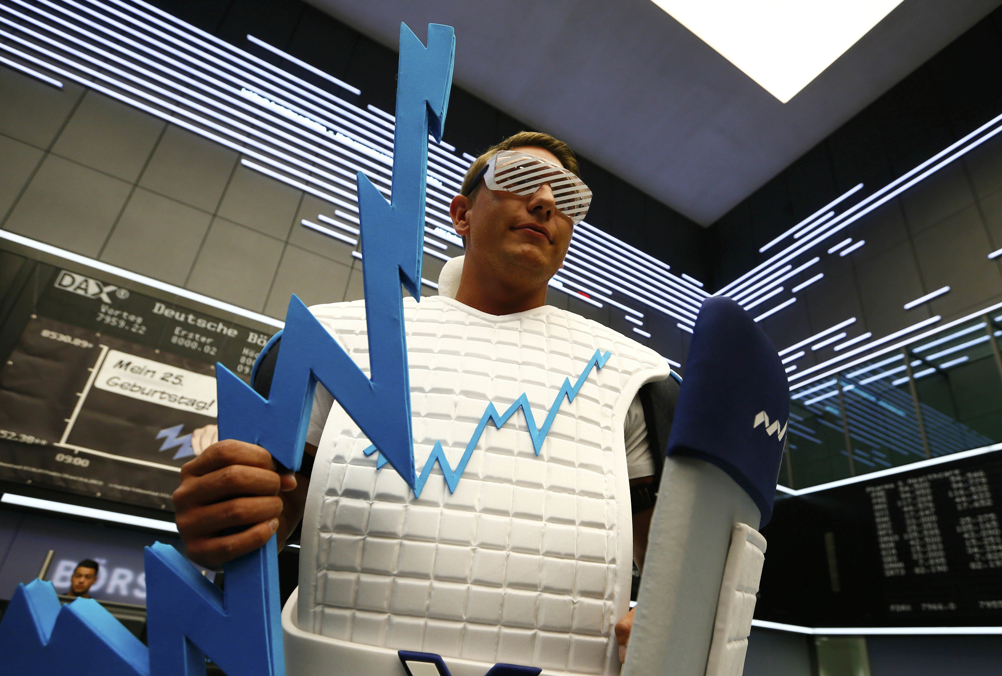 a man dressed in a costume representing a positive business growth