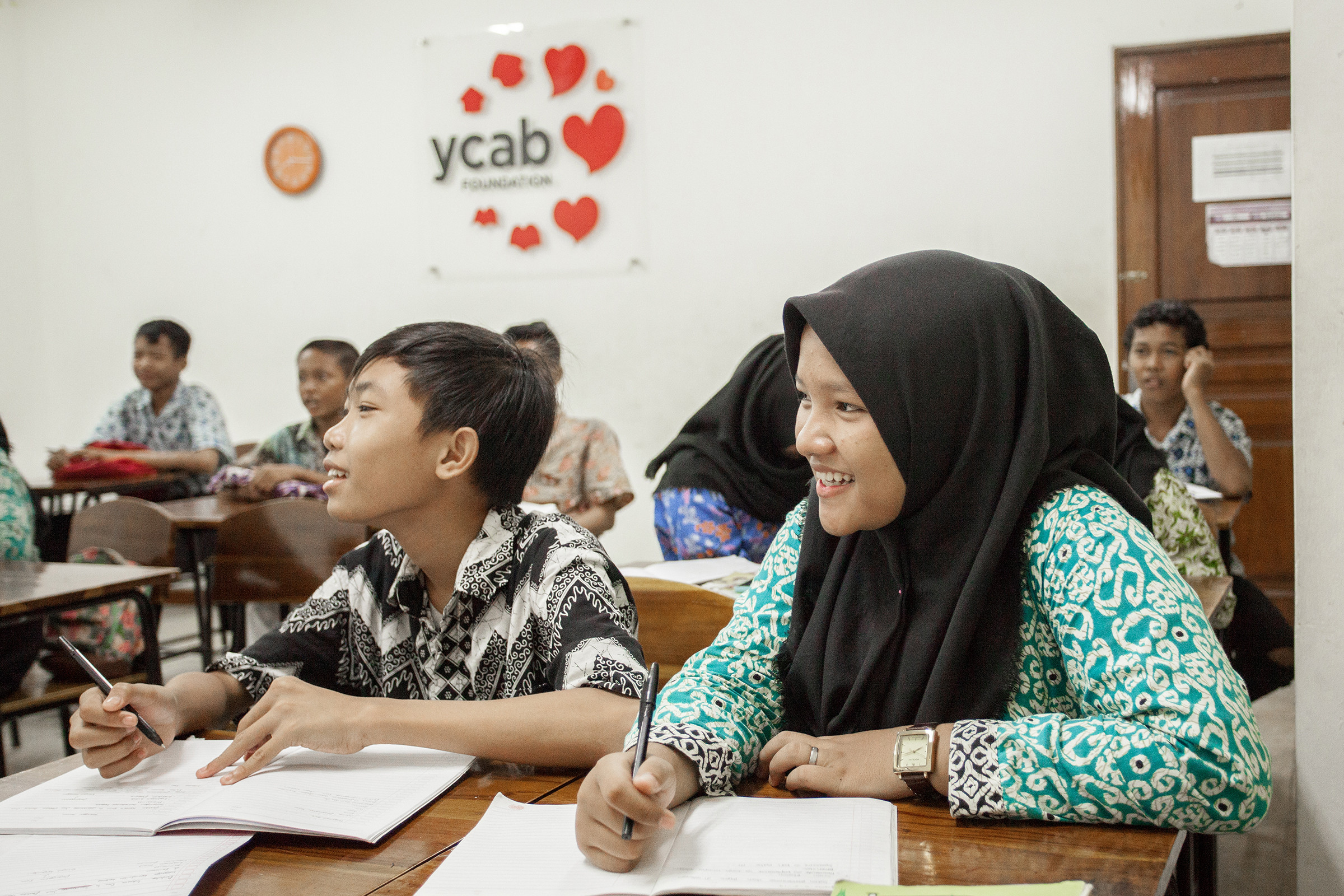 Young people in class at YCAB Foundation training centre.