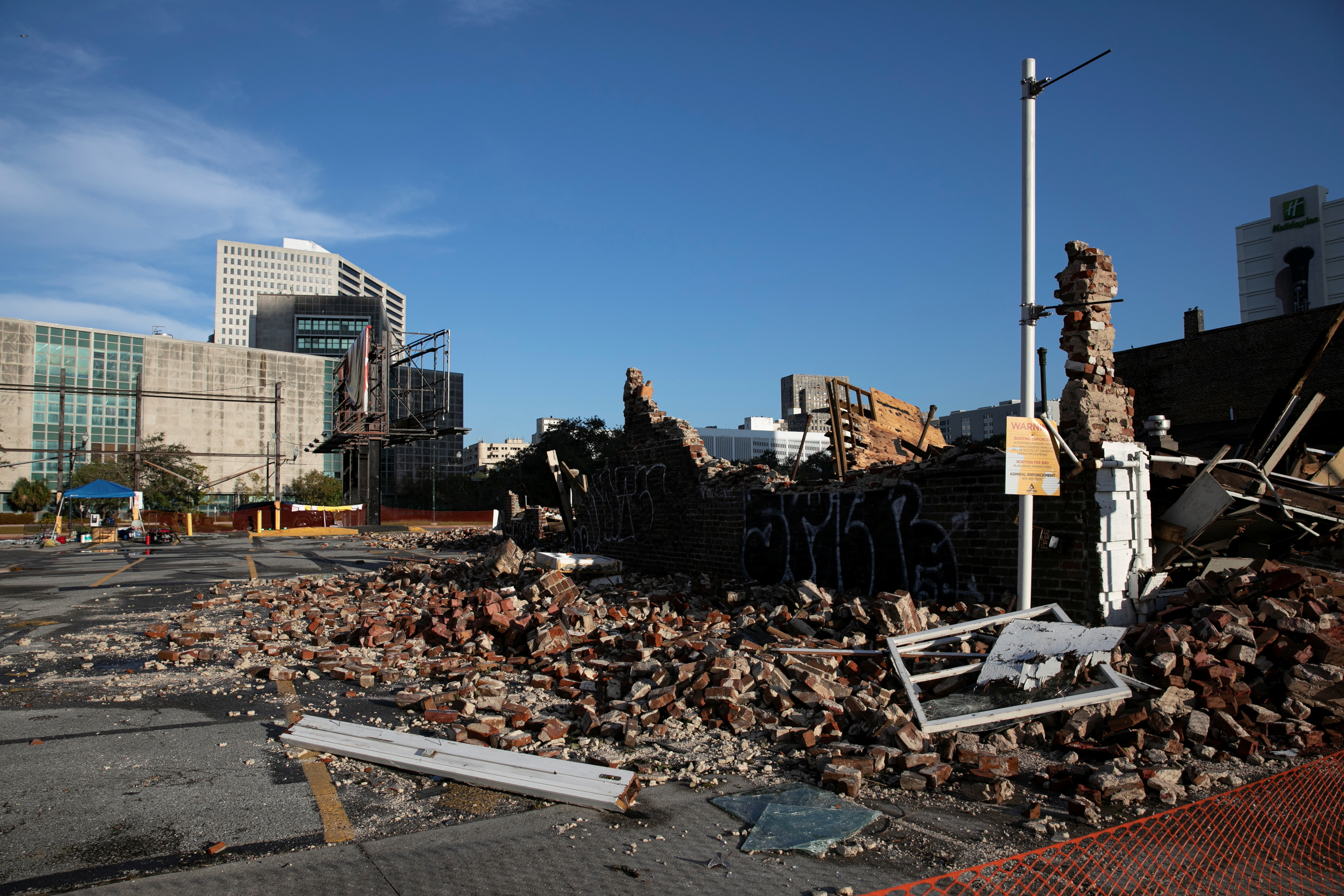 the remains of a destroyed building are seen after Hurricane Ida made landfall in Louisiana, U.S.