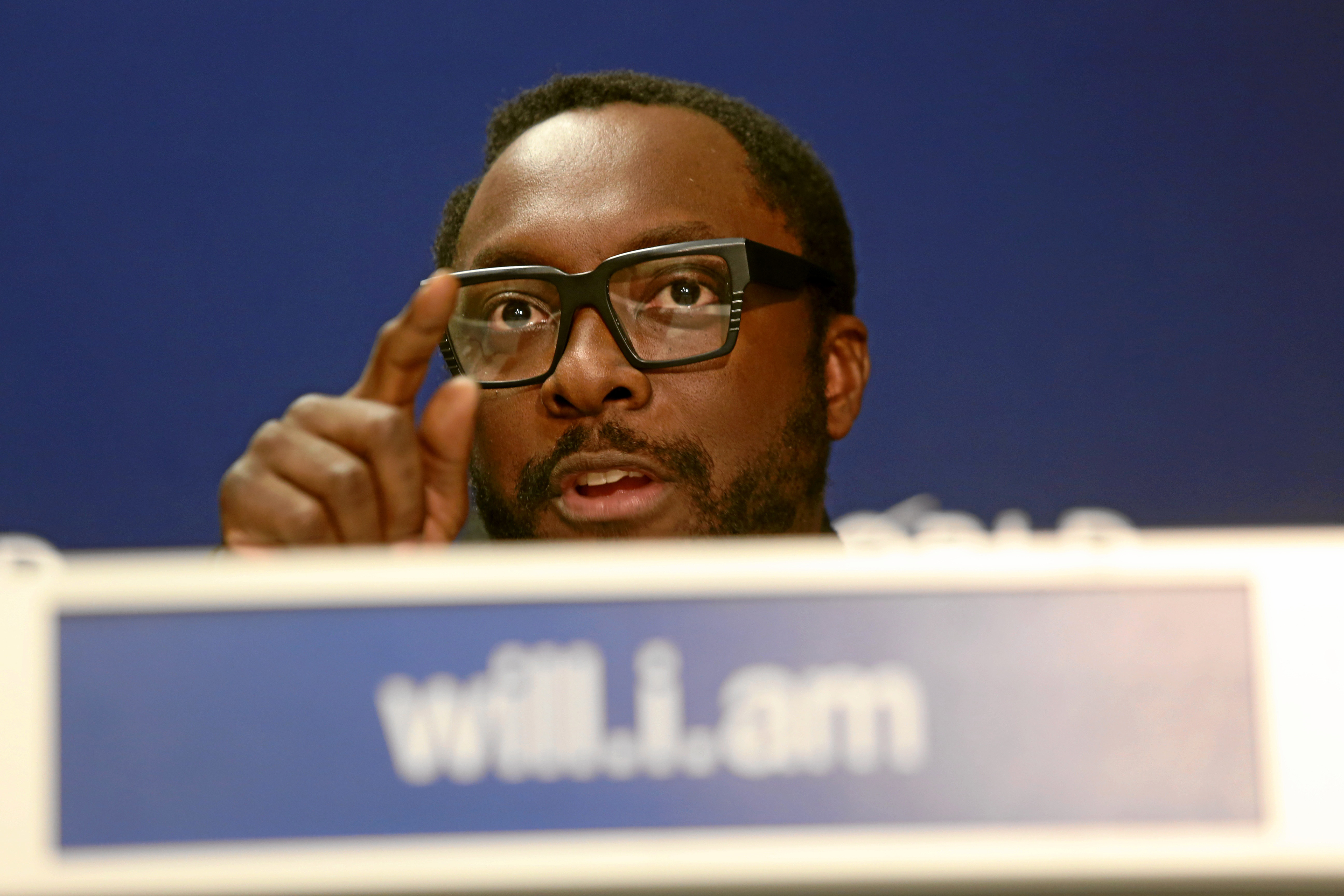 DAVOS/SWITZERLAND, 231JAN15 - William Adams, Founder, I.Am.Angel Foundation, USA speaks during the Press Conference 'William Adams 'Will.I.Am' in the congress centre at the Annual Meeting 2015 of the World Economic Forum in Davos, January 23, 2015.WORLD ECONOMIC FORUM/swiss-image.ch/Photo Michele Limina